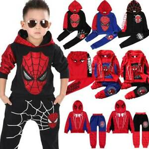 Kids Boys Spiderman Clothes Tracksuit Hoodie Sweatshirt Tops+Pants Outfits Sets