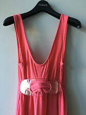 Leona Edmiston Frocks Coral Pink High Waist Maxi Dress Sz 1