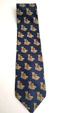 LL Bean Silk Tie Vintage Duck Boot Print Blue Background Freeport Maine