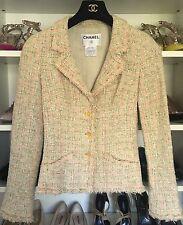 CHANEL 05P  beige green pink boucle blazer jacket 34 XS