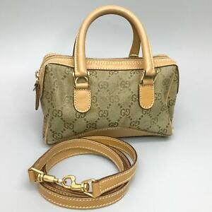 GUCCI GG Pattern Canvas Leather Hand Bag Shoulder Light Brown 007 2854 0248