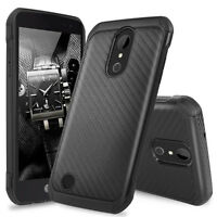 For LG K20 Plus/K20 V/Harmony Slim Carbon Fiber Shockproof TPU Armor Case Cover