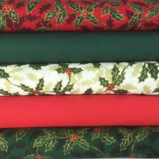 Decorative Holly  5 piece 100% cotton christmas Fat quarter bundle  (no74)