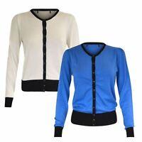 Ex M&S Round Neck Cardigan Contrast Hem Marks & Spencer Size 6 8 10 Blue White