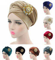 Indian Women Turban Hat Velvet Head Wrap Scarf Hijab Long Tail Chemo Cap+Brooch