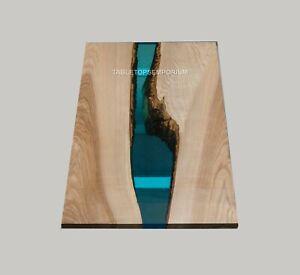 Custom Blue Resin Epoxy Coffee Table, Acacia Epoxy Table, Blue Transparent Arts
