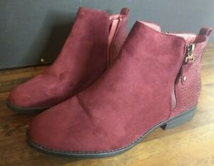 Ladies Burgundy Suede Ankle Boots Size 8 Worn Once Zip Up
