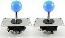 2 X Sanwa Estilo bola superior Arcade Palancas De Mando, 8 Way (azul) - Mame, Jamma