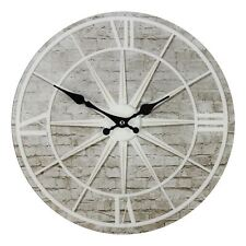 Hometime Star Design Round Glass Bedroom Vintage  Wall Clock, 34cm