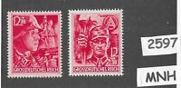 #2597    MNH Stamp set / Last stamps issued by Third Reich  April 1945 / SA & SS