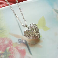 "18"" 925 Sterling Silver Plated Hollow Heart Photo Locket Pendant Lumino Necklace"