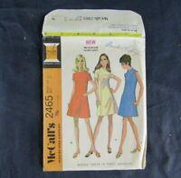McCalls 2465 Vintage 1970 Misses Dress 3 Versions Sz 12 Bust 34 CUT Complete