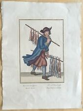 Antique Marcellus Laroon Cries of London German Plate 3 Hand-Colored Engraving