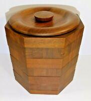 Kustom Kraft Vintage Mid Century Solid Black Walnut Wood Ice Bucket Made in USA