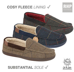 Mens Moccasin Slippers Tweed Winter Fur Lined Warm Comfy Cosy Shoes Size UK SALE