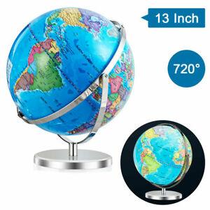 """13"""" Illuminated World Globe 720 Degree Rotating Education Cartography Map W/ LED"""
