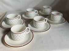 La Primula SIX espresso cups, demitasses. Italy 1970s.Dots on cream background.