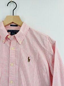 Ralph Lauren - Boys's Size 6 - Pink Pinstripe Casual Button-Down Long Sleeve