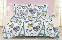 Paris Floral Twin or Full Comforter Bedding Set Flowers French Eiffel Tower Rose