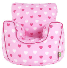 Cotton Pink Hearts Bean Bag Arm Chair With Beans Toddler Size From BeanLazy