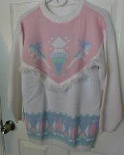 Vintage 80's Pastel Frilly Sweater Fairy Kei Acrylic Knit Large Pink/White/Blue