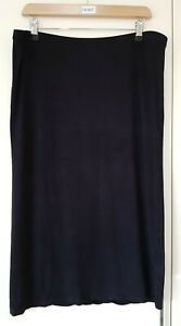 H&M Women's Black Skirt Size Large Pencil Below Knee Elastic Waist Band Casual