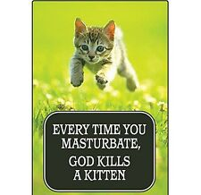 Every Time You Masturbate, God Kills A Kitten funny fridge magnet   (ep)