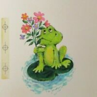 "CUTE FROG on Lillipad w/ Flower Bouquet 7x11"" Greeting Card Art #9644"