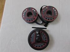 """A1 vintage Leeda LC80 trout fly fishing reel  3.+ 3/8ths"""" + 2 spools + bands"""