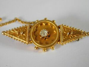 ANTIQUE 15ct GOLD DIAMOND BROOCH -  AESTHETIC MOVEMENT
