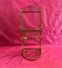 "Vintage Gold Brass Metal Wire Wall Shelf Mid Century  15-3/4"" - Nice!!"