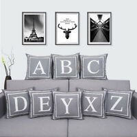 Fashion A-Z Letters Square Throw Pillow Case Cushion Cover Home Sofa Bed Decor