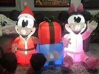 Gemmy Airblown Inflatable Mickey Mouse Minnie Mouse 4 Ft. Disney Christmas 2011