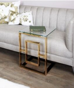 Brand New Contemporary Clear Glass Gold Side End Sofa TV Dinner Laptop Table