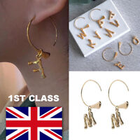 Alphabet Letter Initial Hoop Earrings Brass Gold A to Z