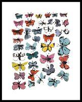 Warhol Butterflies many/varied colors Poster Kunstdruck im Alu Rahmen 36x28cm