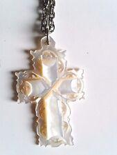 Vintage Jerusalem Mother of Pearl Ornately Carved Cross Chain Necklace  #99