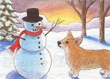 ACEO art print Dog 50 Corgi winter snowman from original painting L.Dumas