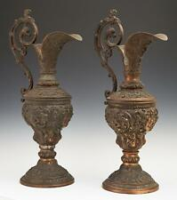 SPECIAL Pair of Copper Patinated Spelter Baluster Ewers, 19th c, 1800s