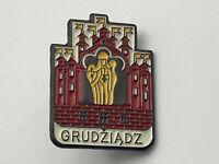 Vintage Polish GRUDZIADZ Travel Souvenir Lapel Pin B2