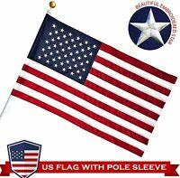 G128 – American Flag USA | 3x5 ft | POLE SLEEVE, Embroidered Stars, Sewn Stripes
