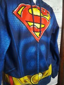 Superman Men's Size S  Full Zip Front Fleece Lined Hooded Lightweight Jacket