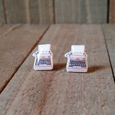 Pink Typewriter Earrings. Plastic Posts, studs.