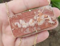 VINTAGE  CARVED RED MALACHITE CAMEO 14K PENDANT ,CHAIN NECKLACE  35.15gr 66mm