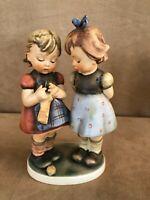 "Large 7"" Goebel Hummel Figurine Knitting Lesson girls W Germany bee vintage"