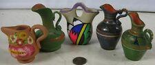 Lot of 5 Vintage Miniature Vases Creamers Indian Red Ware Nice Looking