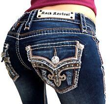 Womens Rock Revival Jeans Low Rise Tibbie Rhinestone Bootcut Stretch Dark $174