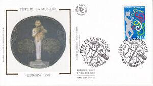 Enveloppe 1er jour FDC Soie 1998 - Europa Fête de la Musique 1