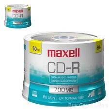 Music CD R Discs Media Audio Video Data Recordable 50 Pack Spindle Blank 700 MB