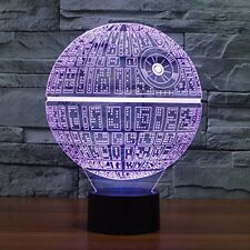 DEATH STAR Star Wars TABLE LAMP Night Light LED 3D Illusion Multiple Colors